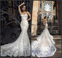 2020 Crystal Design Mermaid Wedding Dresses Sweetheart Fitted Lace Appliques Robe De Soiree Arabic Sexy Bridal Gowns with Court Train 380