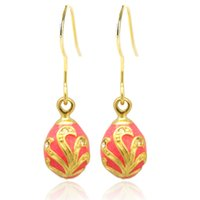 silver and gold Plating fashion flower faberge egg charm drop earring in Russian style for Easter Day