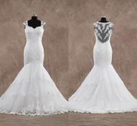 빈티지 레이스 인어 웨딩 드레스 모자 슬리브 연인 웨딩 가운 법원 기차 웨딩 드레스 진짜 사진 겸손 가운
