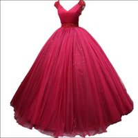 Real photos Stunning Ball Gown Arabian Wedding Dresses V- Nec...