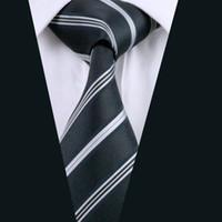 الحرير رجل العلاقات أسود رمادي شريط كلاسيكي 8.5 سنتيمتر العرض الجاكار المنسوجة الأعمال اجتماع العمل الرسمي D-0634