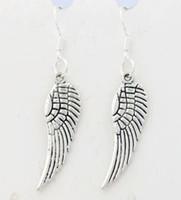 Angel Wing Dangle kroonluchter oorbellen 925 zilveren vis oor haak 40pairs / partij E084 46.5x9.2mm
