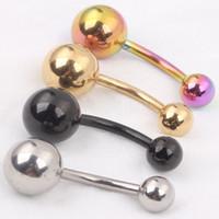 السرة B08 40pcs مزيج 4 ألوان 14G هيئة ثقب المجوهرات السرة حلقات البطن الدائري