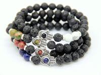 Novo Design de Proteção Dos Homens Frisado Pulseiras Hamsa, pedra de lava, picasso jasper, lapis lazuli, unakite Pedra Beads Jóias
