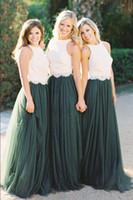 Vintage dos piezas Crop Top vestidos de dama de honor Tul acanalada de color verde oscuro de dama de honor vestidos de encaje vestido de fiesta de boda BD1122