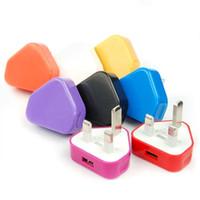 100pcs 5V 1A 3Pin britânica Guage plug Travel Recados carregador USB Power Adapter Para Samsung Google LG Sony Smartphone e tablet
