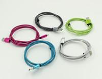 Onda trançada alumínio usb carregador cabo micro dats liga de metal aço adaptador de carregador de aço 1M fio cordão colorido para samsung 100up