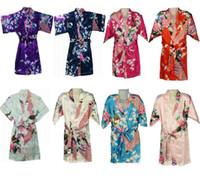 Детская ночная одежда 80~150 8 цветов новый классический flowerJapanese Шелковый кимоно халат пижамы ночная рубашка пижамы для детей девочек