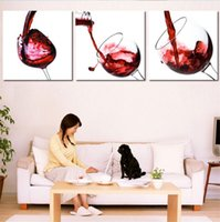 Red Wine Cup Bottle, 3 Pieces Home Decor HD Printed Modern Ar...