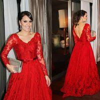 2015 Elegante lange Ärmel Abendkleider V-Ausschnitt Eine Linie Spitze rot bodenlangen Backless formale Prom Party Kleider plus Größe