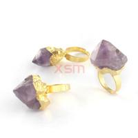 10 unids chapado en oro Charm Natural anillo de las mujeres, anillo de compromiso, Amatista Crystal bud anillos para las mujeres joyería de moda