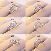 12 Arten Luxus Sterling Silber Hochzeit Ringe Frauen und Männer Verlobung CZ Edelstein Offene Ringe für Paar Versprechen Modeschmuck