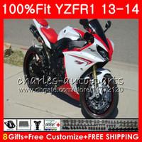 Corps d'injection pour YAMAHA YZF 1000 YZF R 1 YZF-1000 Blanc perlé YZF-R1 13 14 86NO11 YZF1000 YZFR1 13 14 YZF R1 2013 2014 Kit de carénage 100% Fit