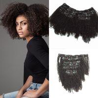 Clipe em extensões de cabelo humano para mulheres negras brasileiras cabelo virgem afro clipe encaracolado kinky em extensão de cabelo clipe cacheado kinky