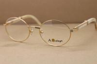 Açık havada gözlük sıcak sürüş 7550178 C bufalo Boyutu: 55-22-135mm altın bilgisayar bayan gözlük boynuz beyaz dekorasyon yuvarlak gla avldf