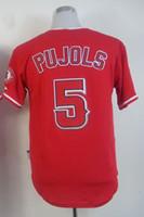 2015 # 5 Albert Pujols 레드 쿨베이스 스티치 저지, 2015 야구 유니폼, 저렴한 가격 및 품질 저렴한 야구 유니폼
