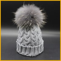 Wholesale- New Fashion Grey Beanie Hat With Fur Pom pom Winte...