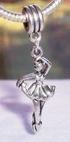 Quente! 100 pcs Antiqued Prata Bailarina Ballet Dancer Dance Dangle Bead para Pulseiras Charme Europeu 44mm x 14mm