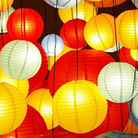 "Fashion 10"" 25cm Chinese Paper Lanterns With LED Candle..."