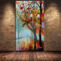 Fresh Morning Tree Road! Hand- painted Canvas Pictures Landsc...