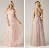 Dusty Pink Bridesmaid Dresses Soft Tulle One Shoulder Hollow...