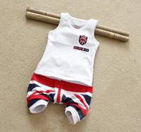 뜨거운 소년 여름 의류 세트 민소매 흰색 면화 셔츠 + 짧은 바지 어린이 소년의 옷을 설정 판매 TZX134