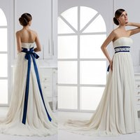 royal blue and ivory wedding dresses from eiffelbride with beautiful lace applique bow sash waist and elegant a line chiffon bridal gowns