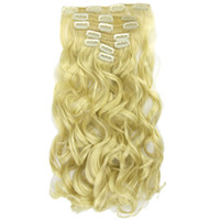 16 Clips 7pcs set Long Curly Straight Synthetic Hair Blonde ...