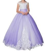 2017 Lavendel-Spitze-Blumen-Mädchen-Kleider für Kinder Erstkommunion Kleid Ballkleid-Spitze-Festzug-Kleider Kleider für Mädchen 081