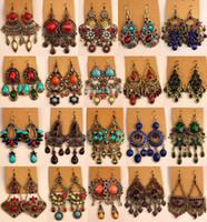 Orecchini retrò vintage argento tibetano argento / in bronzo Gem Gem Diamond orecchini gioielli stile folk misto 20 stile 20 paia / lotto