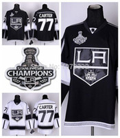 Champions de la Coupe Stanley 2014 2014 Los Angeles Kings # 77 Jeff Carter Jersey Accueil Black Road White LA Kings 77 Maillots Stitched Chine