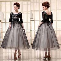 Coquetel vestidos chá comprimento meia mangas em estoque colher tulle lace up applique uma linha mulheres vestidos de noite vestido de baile