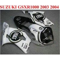 ABS MotoBike Set voor Suzuki GSXR 1000 K3 K4 2003 2004 Fairing Kit GSXR1000 03 04 Zwart Wit Lucky Strike Custom Backings CQ88