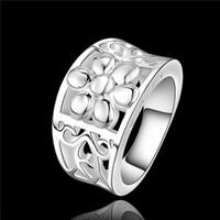 Diseño hermoso 925 anillos de flores chapados en plata esterlina joyería del partido de la manera regalo de Navidad perfecto para la mujer Envío libre de calidad superior