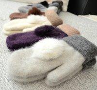 Gants en laine chaudes et douces hiver dames mitaines couleurs solides Grace Ball boule de fourrure de lapin double couche tricoté gants correspondant couleurs