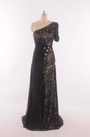 Vestidos de fiesta negros formales con vestidos de fiesta de una manga Vestidos de fiesta con Crsystal Real picture Lace Prom Gowns 2015