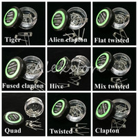 Arame trançado planificado Fused clapton bobinas Hive premade envoltório fios Alien Mix torcido Quad Tiger 9 Resistência Ao Aquecimento Diferente 10 pçs / caixa Vape