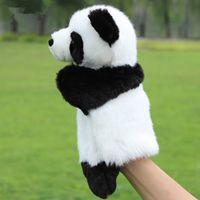 2015 animal mignon panda enfant gant de marionnette à main poupées en peluche jouet bébé Zoo Animal marionnette à main sac en peluche jouet 10pcs / lot bateau gratuit