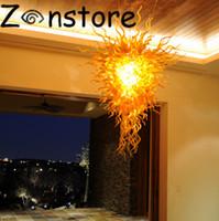 Lustre en or - chaîne en or suspendue moderne lustre salon décoration 100% verre soufflé à la main LED lustre pendant