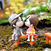 3pcs Set Bench Sweety Lovers Couple Figurines Miniatures Fai...