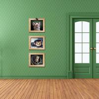 Новое прибытие кошка с имитацией кадра стены термоаппликации наклейки декор 3 шт. В комплект милый кот стены искусства плакат модные и новизна кошка обои