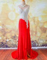 Красный кристалл бисероплетение вечерние платья с бисером Кристалл элегантный платье партии назад молния Русалка Пром платья 2015 на заказ