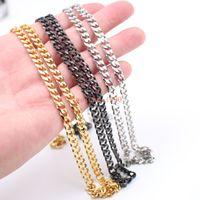 En vente 5mm Curb Link Chain Collier en acier inoxydable Fashion Men 's Women Jewelry Argent / or / noir 18 pouces-32 pouces Choisissez