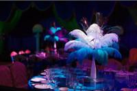 Оптовая 30-35 см белый черный красный розовый синий желтый зеленый фиолетовый Роза страусиное перо шлейфы для свадьбы центральным стол центральным