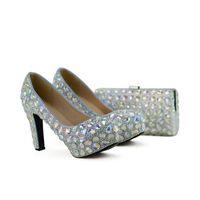 AB Kristall Frauen High Heel Schuhe mit Kupplung Hochzeit Prom Schuhe Passende Tasche Schöne Cinderella Prom Pumps Plus Größe