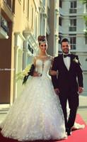Moderne 2021 Modeste à manches longues A-ligne Robes de mariée corsage en dentelle robe de mariée pas cher Long Train