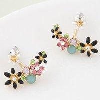 2015 moda coreano oro cristallo orecchini bijoux donne orecchini fiore boucle d'oreille moda gioielli accessori donna