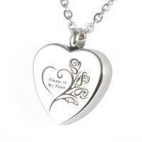 """Colgante conmemorativo de acero inoxidable Lily """"Siempre en mi corazón"""" Collar colgante de joyería Urna Locket con bolsa de regalo y cadena"""