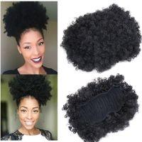 Hot estilo Afro Curto Crespo Rabo de Cavalo Encaracolado Bun barato cabelo 50g 100g rabo de cavalo de cabelo Sintético para as mulheres negras