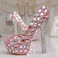 Spring 4 Inches Single Dress Shoes Pink Crystal Wedding Dres...